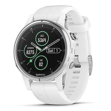 Garmin fenix 5S Plus Sapphire Multisport GPS Watch (White w/ Carrera White Band)