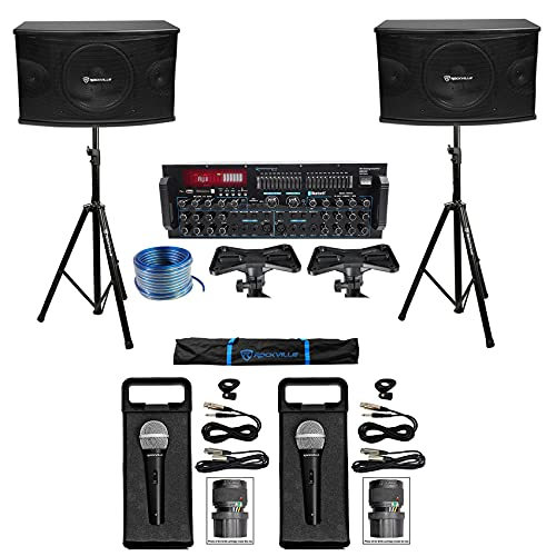 "Rockville Karaoke Machine System w/ Pair 10"" Speakers+Bluetooth Mixer Amp+Mics + Rockville R14GSBR100 Red/Blk 14 Gauge 100' Ft. Mini Spool Car Audio Speaker Wire"