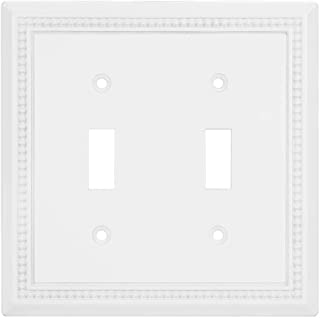 Sunken Pearls Decorative Wall Plate Switch Plate Outlet Cover, Durable Solid Zinc Alloy (Double Toggle, White)