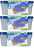 Ziploc Container Large Rectangle, 9 cup Containers (6ct)