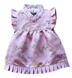 Baby Toddler Boy Girls Qipao Chinese New Years 2016 Asian Costume Set Outfit (1 to 2 Years Old, Pink Simple Flowers)