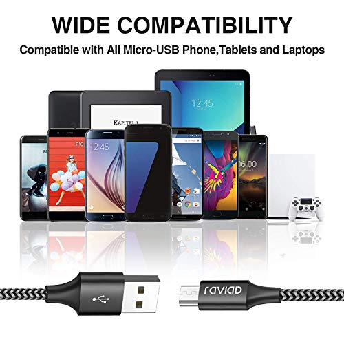 RAVIAD Micro USB Kabel, [4Pack 0.3m 1m 2m 3m] 3A Micro USB Ladekabel Android Schnellladekabel für Samsung Galaxy S7 Edge/S7/S6/J3/J7/Note 5, Huawei, Xiaomi, Wiko, Nexus, Kindle, Echo Dot - Schwarz