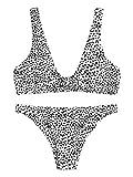 SweatyRocks Women's Sexy Bikini Swimsuit Tie Knot Front Leopard Print Swimwear Set Multi S