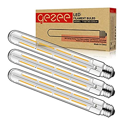 GEZEE T10(T30),3-Pack,Dimmable 8W Long Tube Decorative Light Bulb,Edison Style Vintage LED Filament Light Bulb,Antique Shape, Warm White 2700K,800LM(80W Equivalent), E26 Medium Base Lamp,8.9in(225mm£