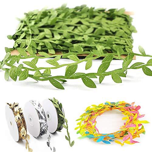Cinta De Hojas Verdes,Senteen 8 Rollos 40M Cuerda De Hojas Guirnalda De Hiedra Artificial Cuerda De Yute Verde Enredaderas Artificiales Tela, para DIY Wedding Party Craft Decoración De Pared