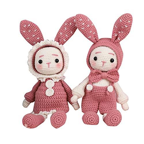 Hiqusc Handgefertigte gehäkelte Wollpuppen Material Pack DIY Lange Ohren Kaninchen Handarbeit Puppen Rose