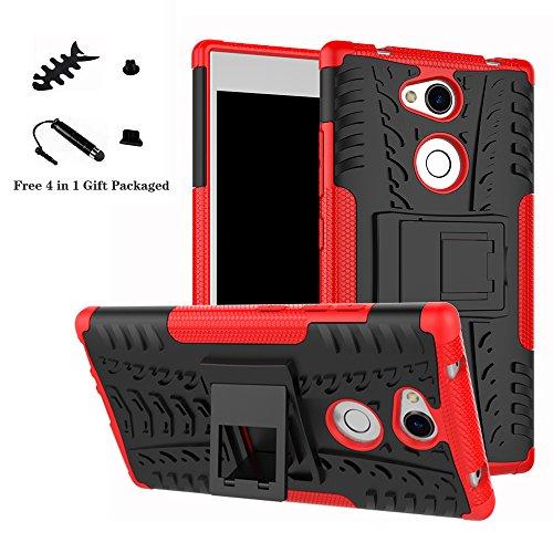 LiuShan Sony L2 Hülle, Dual Layer Hybrid Handyhülle Drop Resistance Handys Schutz Hülle mit Ständer für Sony Xperia L2 Smartphone (mit 4in1 Geschenk verpackt),Rot