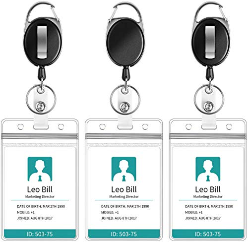 Puroma 3 Pack Heavy Duty Retractable Badge Reel with Waterproof Vertical ID Card Holders and Key Ring for Card Keychain Badge Holder
