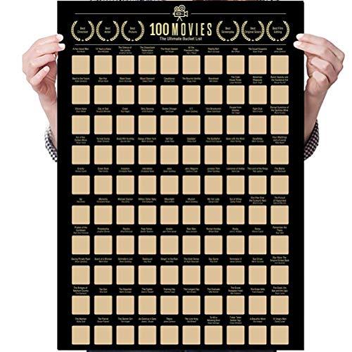 Pôster de lista de 100 filmes: 100 cartazes de arranhões de filmes, pôsteres de lista de filmes de decoração de parede premium e artística, pôsteres de arranhões de filmes para adolescentes e crianças, presente para amantes de filmes