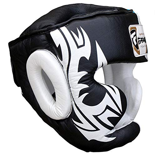 Boxeo Guardia Protector de Cabeza del Casco de Entrenamiento MMA Pro para Toda la Cara, Protección Cheek Sombreros y tocados de Cuero Real (L)