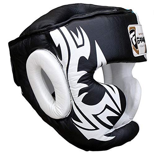 FARABI Boxe Capo Guardia del Casco protettore di addestramento di MMA PRO Full Face, Protezione guancia Copricapo Vera Pelle (S)