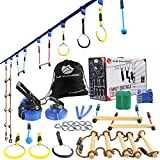 Ninja Line Warrior Obstacle Course for Kids-2×56ft Slackline Kit, Hanging Activities Accessories - Monkey Bar, Rope Ladder, Monkey Fist, Rings for Backyard Tree Training Equipment Outdoor Play