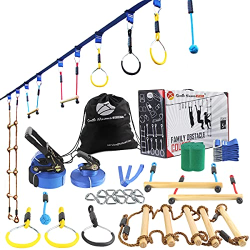 Ninja Line Warrior Obstacle Course for Kids Outside-2×56ft Slackline Kit, Hanging Activities Accessories - Monkey Bar, Rope Ladder, Monkey Fist, Rings for Backyard Tree Training Equipment Outdoor Play