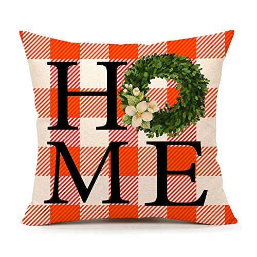 4TH Emotion Fall Orange White Home Throw Pillow Cover Buffalo Check Boxwood Farmhouse Cushion Case for Sofa Couch Cotton Linen 18x18 Inches