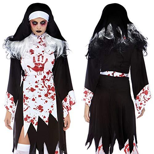 TIANMIAOTIAN Halloween Ropa Vampiro Novia Fantasma Cos Monja El Pastor Juego Uniforme Papel Jugar Disfraz De Enfermera De Quirófano con Vestido Delantal Postizo,M
