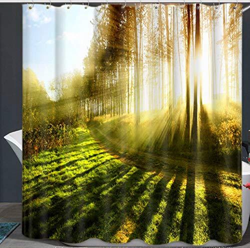 KaiXINSun Sunshine Sen Thema Duschvorhang Wasserdicht Mehltau Antibakterielle Polyester Bad Vorhang 180X180Cm