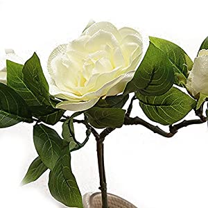 Lopkey 2 Bunch Silk Artificial Gardenia Flowers Wedding Home Decor,White