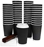 coffee cup caps - Galashield 16 Oz Disposable Coffee Cups with Lids 50 Pack Hot Paper Ripple Cup with Stirring Straws and Napkins