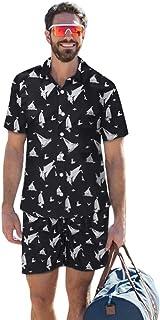 Hombre Chándal de Verano Estampado Tiburón Playa Casual Camisetas Hombres Gimnasio Correr Cortos de Manga Corta Traje de