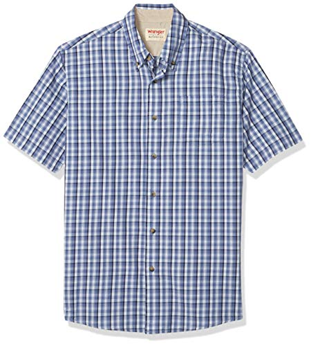 Wrangler Authentics Men's Short Sleeve Plaid Woven Shirt, Bijou Blue, XL
