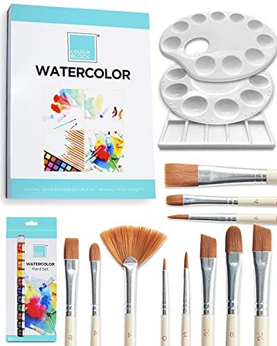 COLOUR BLOCK 52 Piece Watercolor Bundle Set, Art Supplies for...