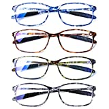 DOOViC Computer Reading Glasses 4 Pack Blue Light Blocking Glasses Anti Eyestrain Flexible Lightweight Readers for Women Men 2.25 Strength