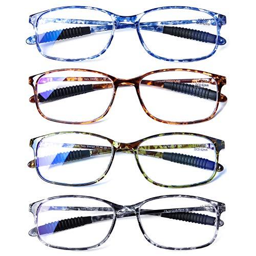 DOOViC Blaulichtfilter Computer Lesebrille Schildkröte/Eckig Rahmen Flexible Bügel Leichte Brille mit Stärke für Herren 2,0