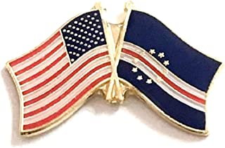 National Country Flag & US Crossed Double Flag Lapel Pins, International & American Friendship Enamel Tie and Hat Pin Badge (Cape Verde)
