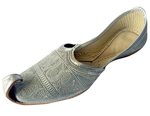 Herrenschuh von Step n Style, flach, silberfarben, Zari Khussa Schuhe, traditionelle indische Lederslipper, Punjabi Jutti, Silber - silber - Größe: 42