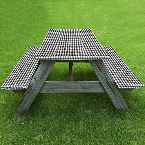 Realyou Fitted Elastic Edged Tablecloth and Bench Cover for Outdoor Picnic Rectangle Tables Spillproof Table Seat Covers 72X28 Inch, 3 Piece Set (Black)