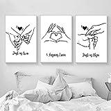 MKWDBBNM Love Hand Family Art Line Drawing Posters Abstract Kiss Minimalist Wall Art Impresión en Lienzo Pintura Cuadros Decorativos Modernos | 40x60cmx3 sin Marco
