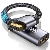 JSAUX Adaptador DisplayPort a HDMI (4K@60Hz,2K@144Hz) Durable Adaptador DP a HDMI Convertidor Nylon Trenzado con Contactos chapados en Oro para HP, HDTV, ThinkPad, Monitor, Projektor-Grey