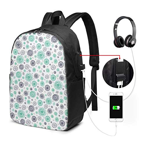 USB Backpack 17 Inches Laptop Backpack For Travel School Business Shoulder Bag Lightweight Wild and Free Teal, Navy and White Tossed Mandala Pattern