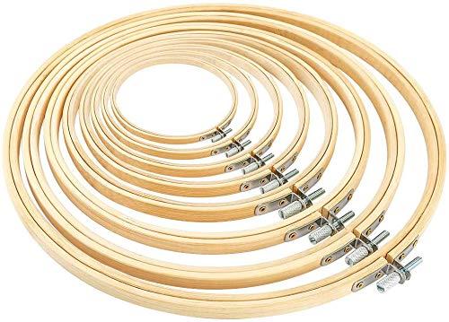 TOKERD 8 Stickrahmen Set Holz Bambus Kreuzstich Rahmen Einstellbar Stickerei Rings Hoops Runden Bambus Kreis Set Nähmaschine Stickerei Ring Cross Stitch Hoop für Dekoration DIY Nähen