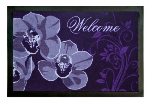 Fussmatte Orchideen Cymbidium lila WELCOME, Fußabtreter Türvorleger