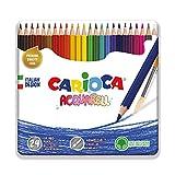 Carioca Lápices Acquarell | Lápices de Colores Acuarelables en Lata para Niños y Adultos, Lápices con Punta Resistente, Colores Surtidos 24 Uds