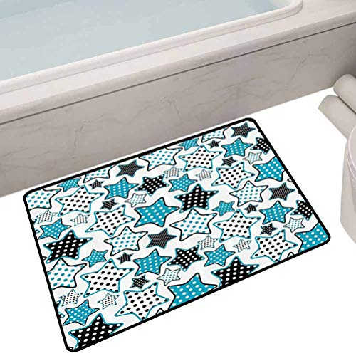 Great Features Of Bath Mat Set Kitchen Door Stars Shapes Cartoon Childish Illustration and Geometry Cheering Celebration Image,24″X16″ Rectangle Low-Profile Mats