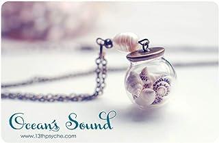 Globo di vetro conchiglie collana, Orb collana, collana di conchiglie, pendente Shell, oceano collana, ciondolo, pendente ...