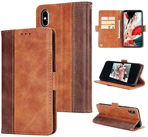 Mking Tech High-End-Clamshell Handy Schutzholster, Brieftasche-Stil Handy-Fall für iPhone X/XS / XS Max, Handy-Portemonnaie/Stoßstange ip 7/8 / Plus/iPhone 9
