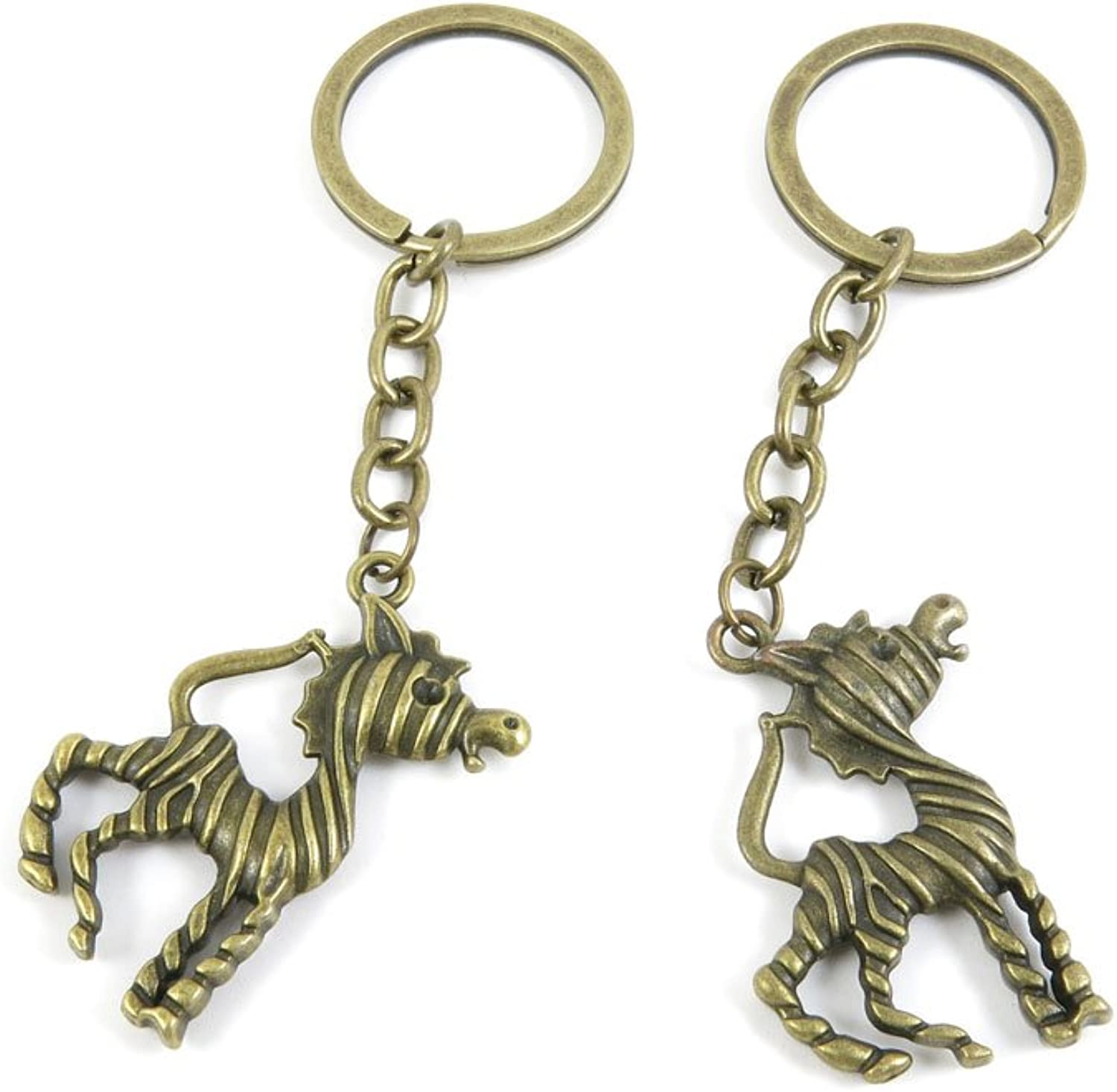 100 PCS Keyrings Keychains Key Ring Chains Tags Jewelry Findings Clasps Buckles Supplies K0ZO6 Zebra