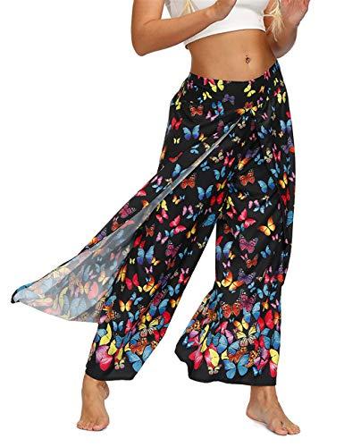 AMOMA Mujer Anchos de Yoga con Abertura Lateral en la Pierna Pantalones Elásticos de Cintura Elástica Sueltos Boho Style(XL,037ButterflyColor)