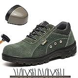 Zapatillas de Seguridad Hombre con Punta de Acero Antipinchazos Calzados de Trabajo Antideslizantes Comodas Anti-Piercing Zapatillas de Senderismo Zapatillas de Deporte industriales,37
