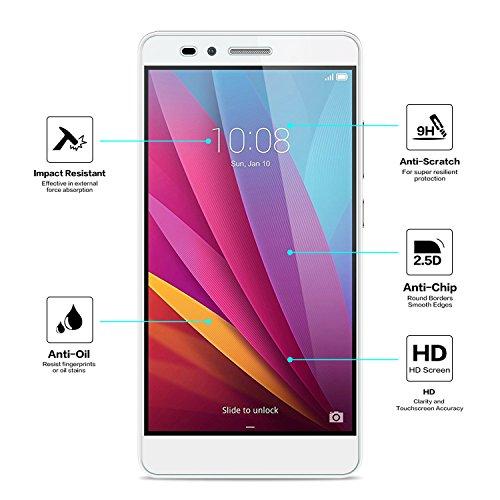 NEARPOW [3 Stück] Huawei Honor 5X Panzerglas Displayschutzfolie, Schutzfolie 9H Härte, Anti-Kratzen, Anti-Öl, Anti-Bläschen, Anti-Fingerabdruck - 3