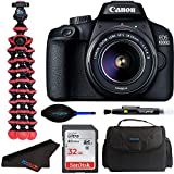 Canon EOS 4000D DSLR Camera w/Canon EF-S 18-55mm F/3.5-5.6 III Zoom Lens + Pixibytes Intermediate Bundle (International Version)