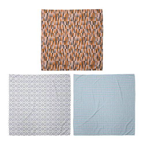 ABAKUHAUS Pack de 3 Bandanas Unisex, Imprimir de Long triángulos vertical elíptica de motivos Continua Diamond Shapes, Multicolor
