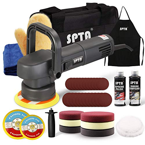 SPTA Buffer Polisher, 780W 110V 5Inch & 6Inch Dual Action Random Orbital Car Polisher, 41pcs Car Detailing Kit with Polishing Pads, Sanding Papers, Wool Pads, Tool Bag for Car Polishing and Waxing