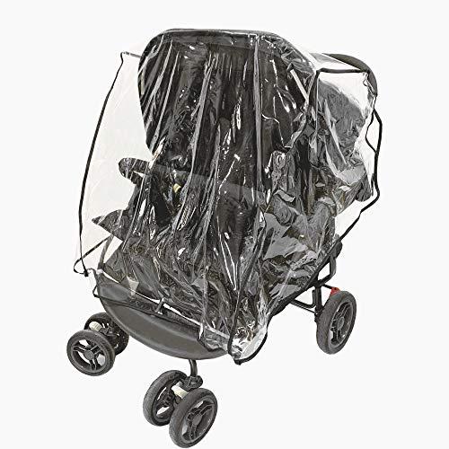 Cubierta de lluvia para cochecito de bebé doble para protección al aire libre para bebés, gemelos de lado a lado Cubierta de silla de paseo Accesorios para cochecito de bebé