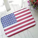 N/A Felpudo Interior Impreso en 3D Alfombrilla de baño de Bienvenida con Bandera Americana patriótica Moderna de EE. UU, Alfombrilla de baño con Rayas de Estrellas y Bandera de EE. UU.-50X80CM