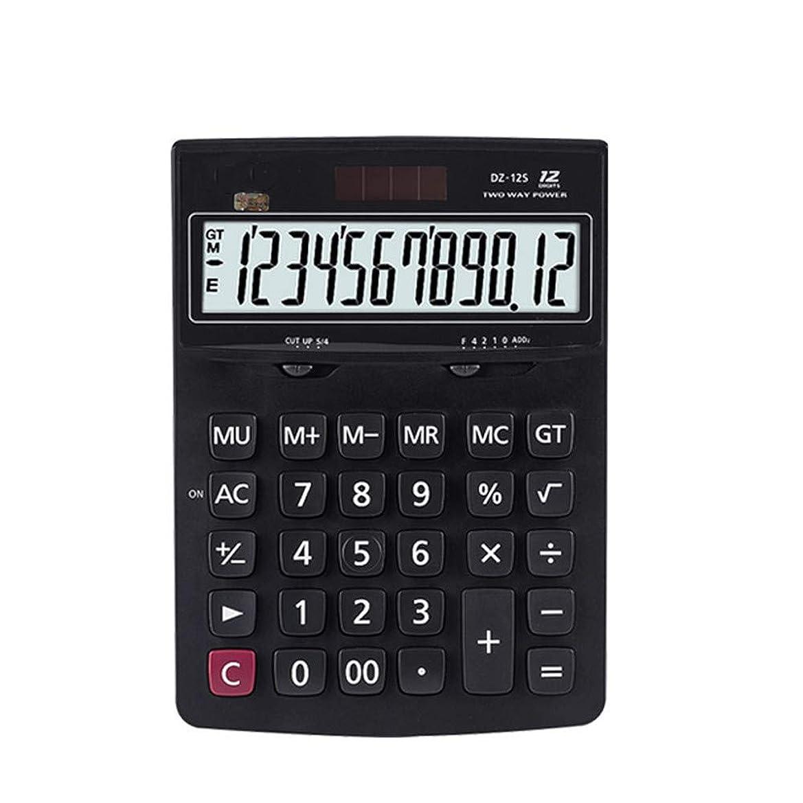 保有者針懸念電卓日常ビジネス中型12桁Largescreenソーラー電卓 標準機能エレクトロニクス電卓 (色 : ブラック)