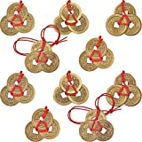 Boao Pièces Chinoises de Fortune Pièces Feng Shui Pièces I-Ching Pièces de Monnaie Traditionnelles avec Ficelle Rouge pour la Richesse et Le Succès, 5 Styles (10)